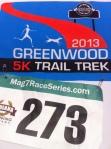T-shirt logo and Bib from the Greenwood Trek 5K.