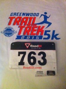 T-shirt and bib from the Greenwood Trail Trek 5K 2015.