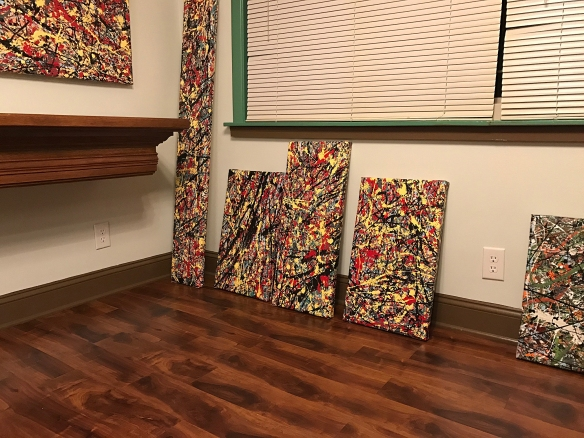4 Untitled drip paintings.