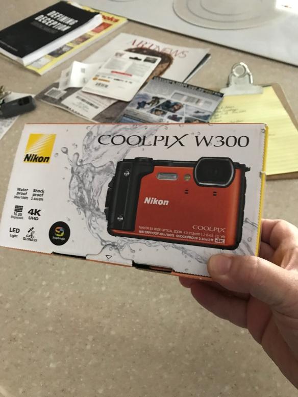 The Nikon W300 box. Photo taken by the iPhone.